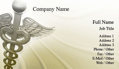 Gold and White Caduceus Business Card Template